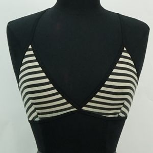 American Apparel Black and Tan Striped Bra Top L